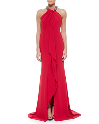 Beaded-Neck Toga Gown, Red