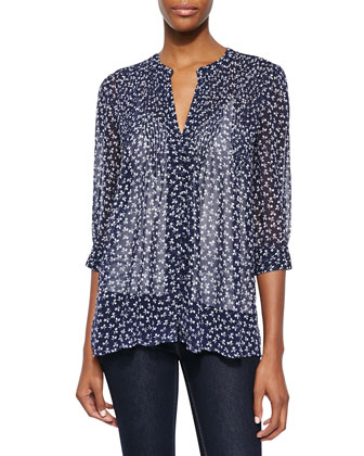Laurel Floral-Print Silk Blouse