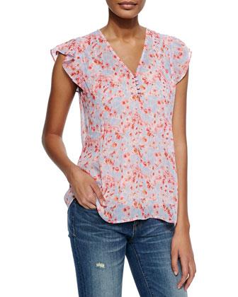 Macy B Floral-Print Silk Top
