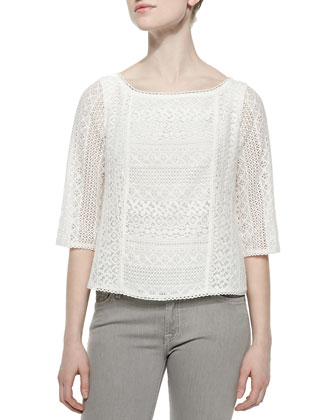 Tulia Cluny Lace Boat-Neck Top