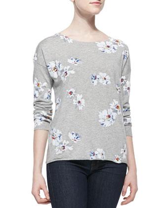 Eloisa B Floral-Print Knit Sweater