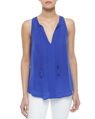 Airlan Split-Neck Silk Blouse