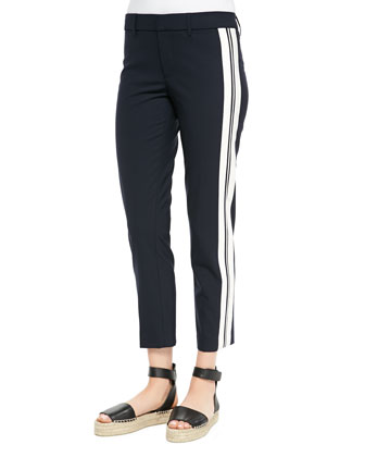 Stripe-Side Cropped Trousers