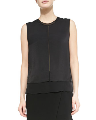 Layered Sleeveless Silk Blouse, Black
