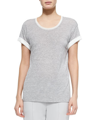Contrast-Trim Slub Tee, Gray/Off White
