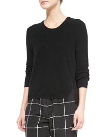 Zip-Hem Knit Sweater, Black