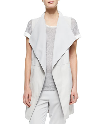 Leather/Ponte Draped Long Vest, Sierra Silver