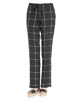 Windowpane-Print Relaxed Drawstring Pants