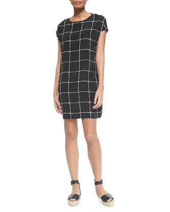 Windowpane-Print Cap-Sleeve Dress