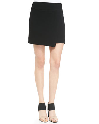 Ponte Asymmetric Faux-Wrap Skirt