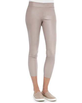 Shimmery Leather Cropped Pull-On Leggings