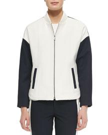 Colorblock Knit Bomber Jacket