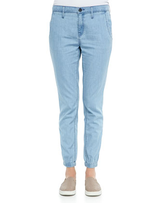 Denim Fitted Jogger Pants