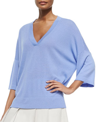 Cashmere Drop-Sleeve V-Neck Sweater