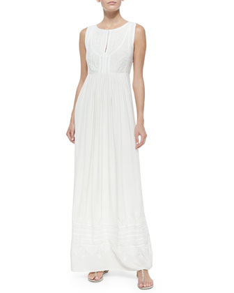 Leone Pleated Embroidered Maxi Dress