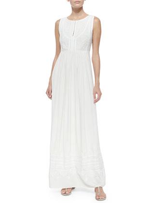 Leone Pleated Embroidered Maxi Dress