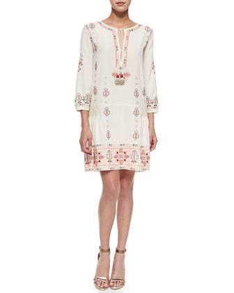 Nona Shift Dress with Allover Embroidery