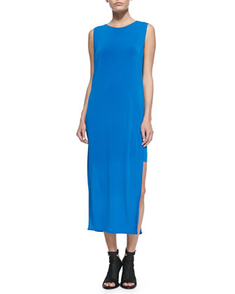 Faint Jersey Side-Slit Dress