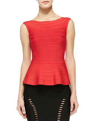 Sonya Cap-Sleeve Peplum Top