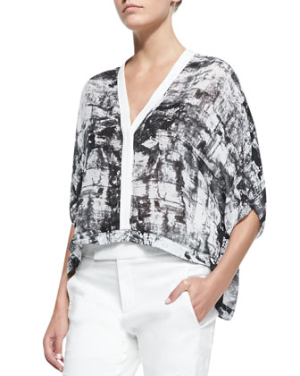Printed Lightweight Cropped Blouse