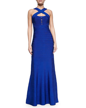 Chrissy Cross-Strap Mermaid Bandage Gown
