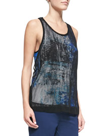 Tryst Printed Top with Mesh Overlay