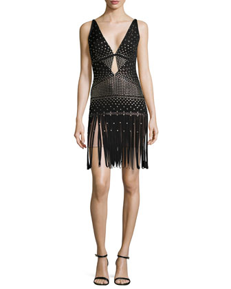Kierra V-Neck Dress with Fringe