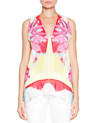 Abstract Floral/Check Printed Sleeveless Top