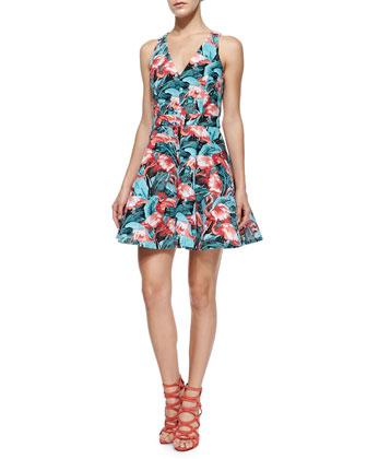 Abigale Flamingo-Print Twill Dress