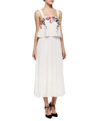 Luana Embroidered Pleated Silk Dress
