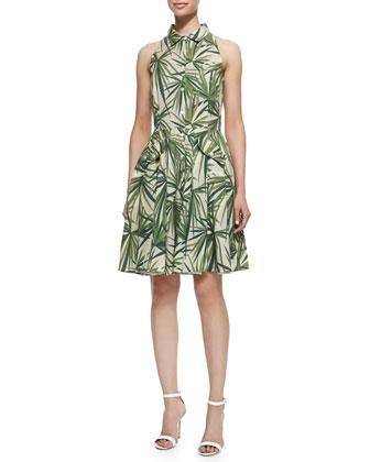 Alohi Palm-Leaf-Print Dress