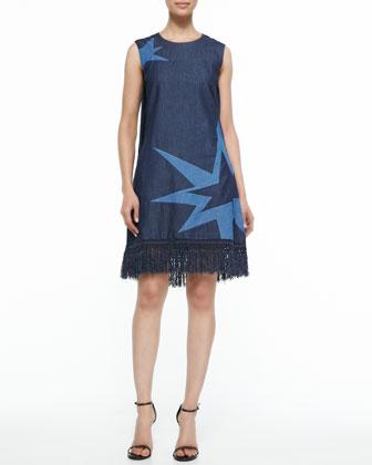 Embroidered Fringe-Hem Dress