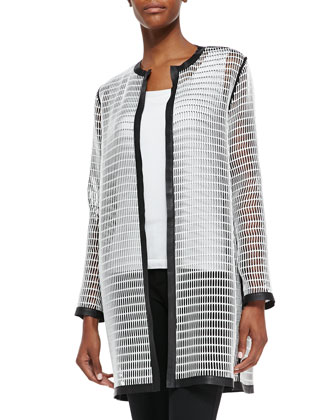 Soho Reversible Mesh Coat, Black/White