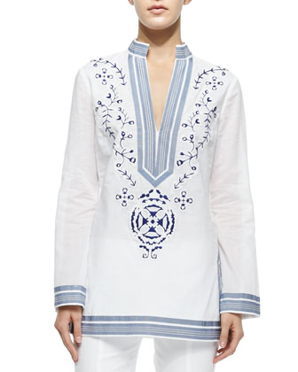 Tory Embroidered Tunic W/ Ribbon Trim