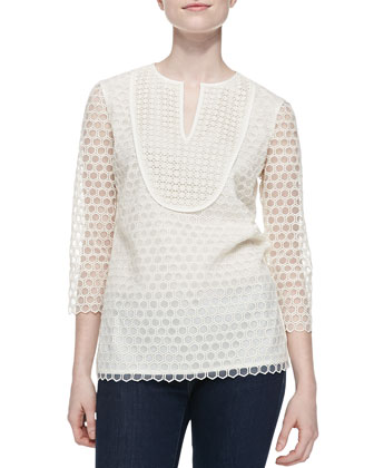 Tali-3/4-Sleeve Combo Honeycomb Top