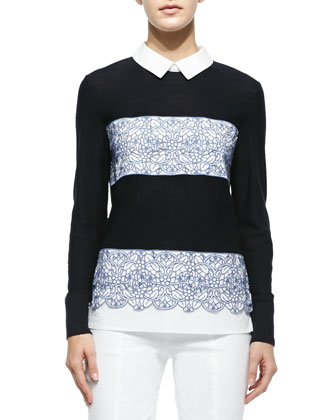 Edwina Embroidery Paneled Sweater