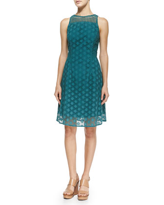 Hallie Circles Eyelet Dress, Pond