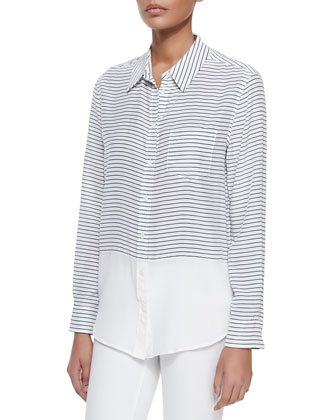 Long-Sleeve Striped & Solid Blouse