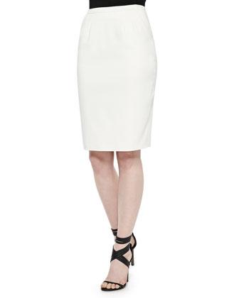Slim Gabardine Pencil Skirt, Cream