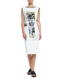 Paint-Print Sleeveless Jersey Dress