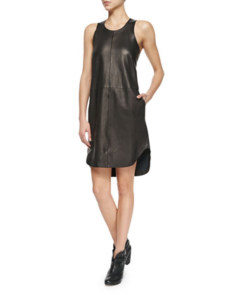 Crete Leather Tank Dress, Caviar