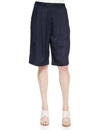 Sally Long Pleated-Front Shorts, Dark Navy