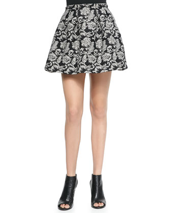 Anna Pleated Print Short Skirt