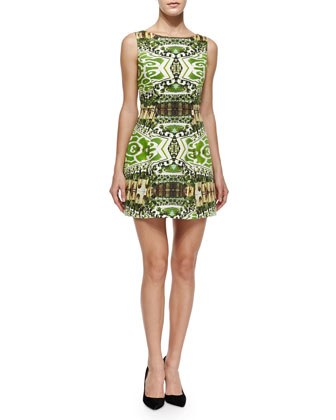 Carrie Printed Boat-Neck Dress