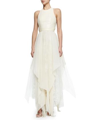 Jennifer Gown with Leather Bodice & Handkerchief Hem