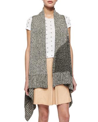 Nessa Mixed-Stitch Long Vest