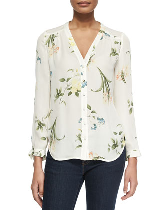 Yvetta Floral-Print Silk Blouse