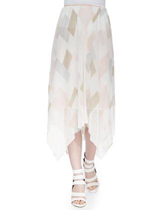 Jamilla Printed Uneven Silk Skirt