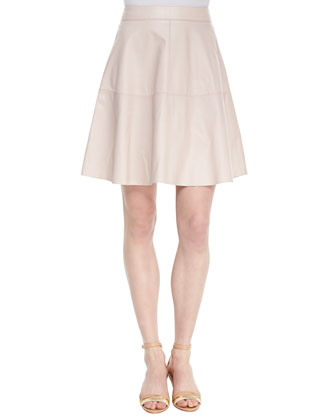 Decollete A-Line Leather Skirt