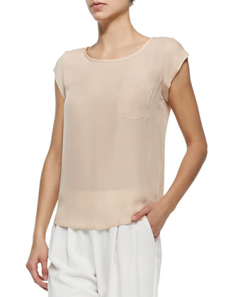Rancher Cap-Sleeve Silk Top